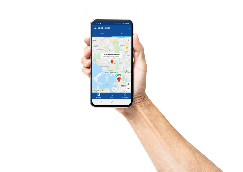 Granlund Manager -ohjelmisto kulkee mukana kentällä ja näyttää mm. missä kiinteistöportfolion kohteet sijaitsevat kartalla.